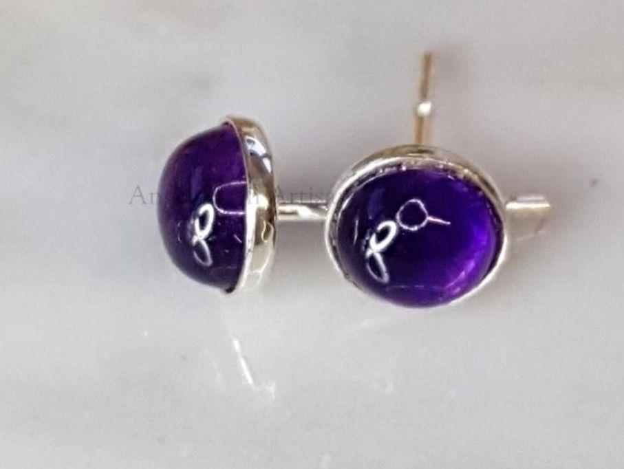 Sterling Silver Earrings - 6mm Amethyst Gemstone Studs