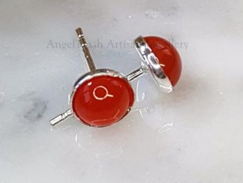 Earrings - Sterling Silver - 6mm Carnelian/Cornelian Gemstone Studs
