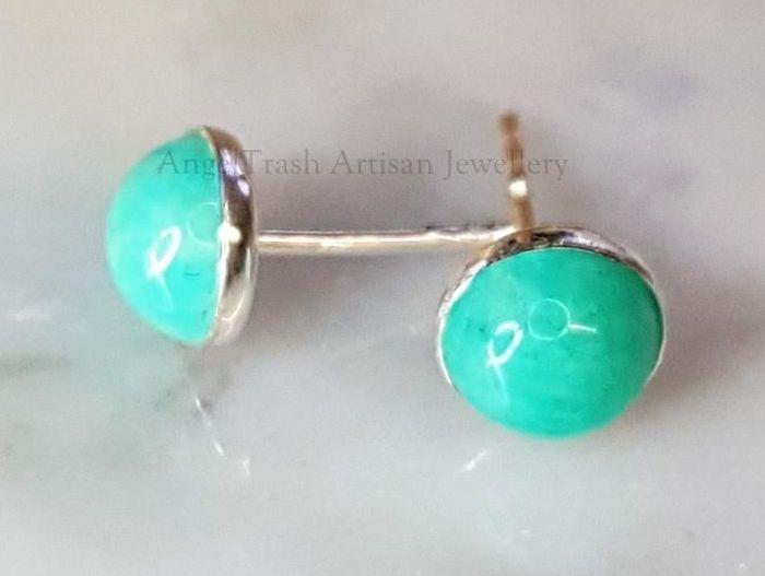 Sterling Silver Earrings - 6mm Amazonite Gemstone Studs
