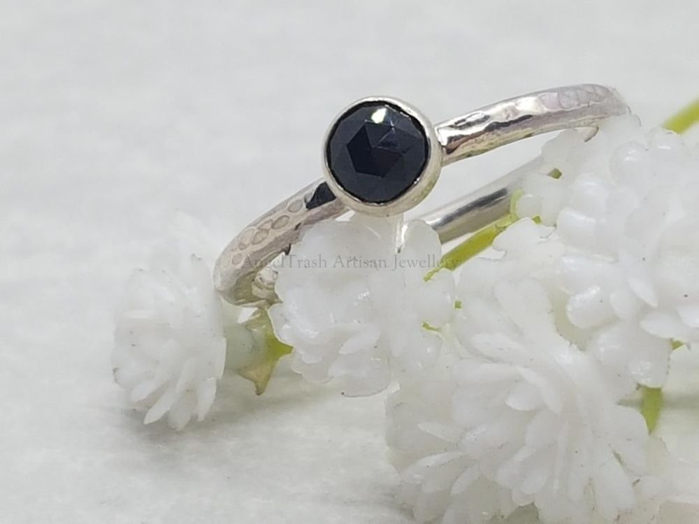 Sterling Silver Ring - Round Stacking Ring with 5mm Rose Cut Black Spinel C