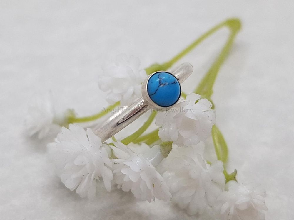Sterling Silver Ring - Round Stacking Ring with 5mm Turquoise Cabochon