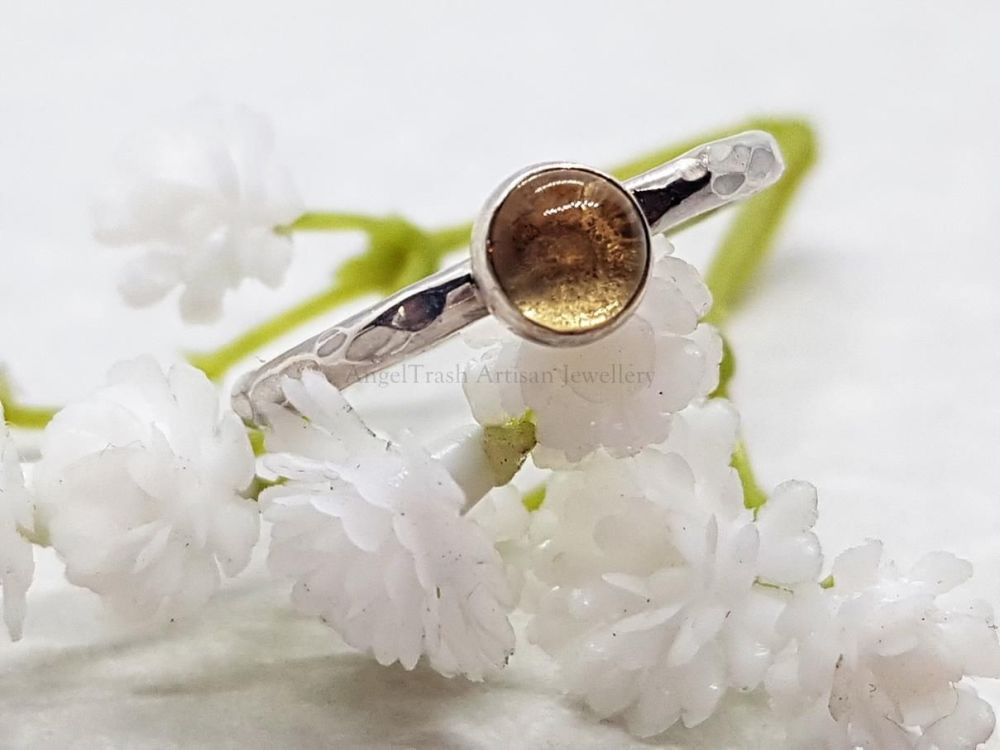 Sterling Silver Ring - Round Stacking Ring with 5mm Citrine Cabochon