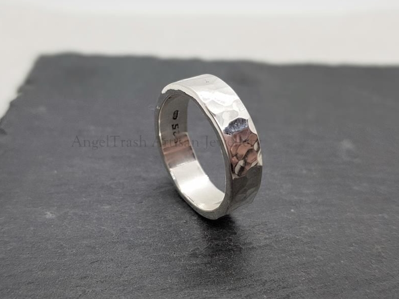 Sterling Silver Ring - Heavyweight Hammered Flat 6mm Wide Wedding Ring
