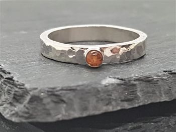 Ring - Sterling Silver - Alma Collection - With 3mm Amber Gemstone