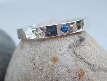Ring - Sterling Silver - Alma Collection - Flush Set with 2mm Topaz - You Choose Colour