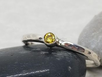 Ring - Sterling Silver - Stacking Ring - Slim Round Ring with Yellow 3mm CZ - Size N