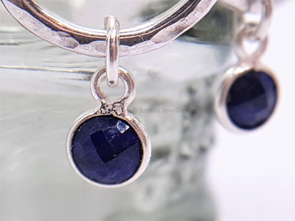 Sterling Silver Earrings - Silver & Sapphire Floating Gemstone Hoop Earring