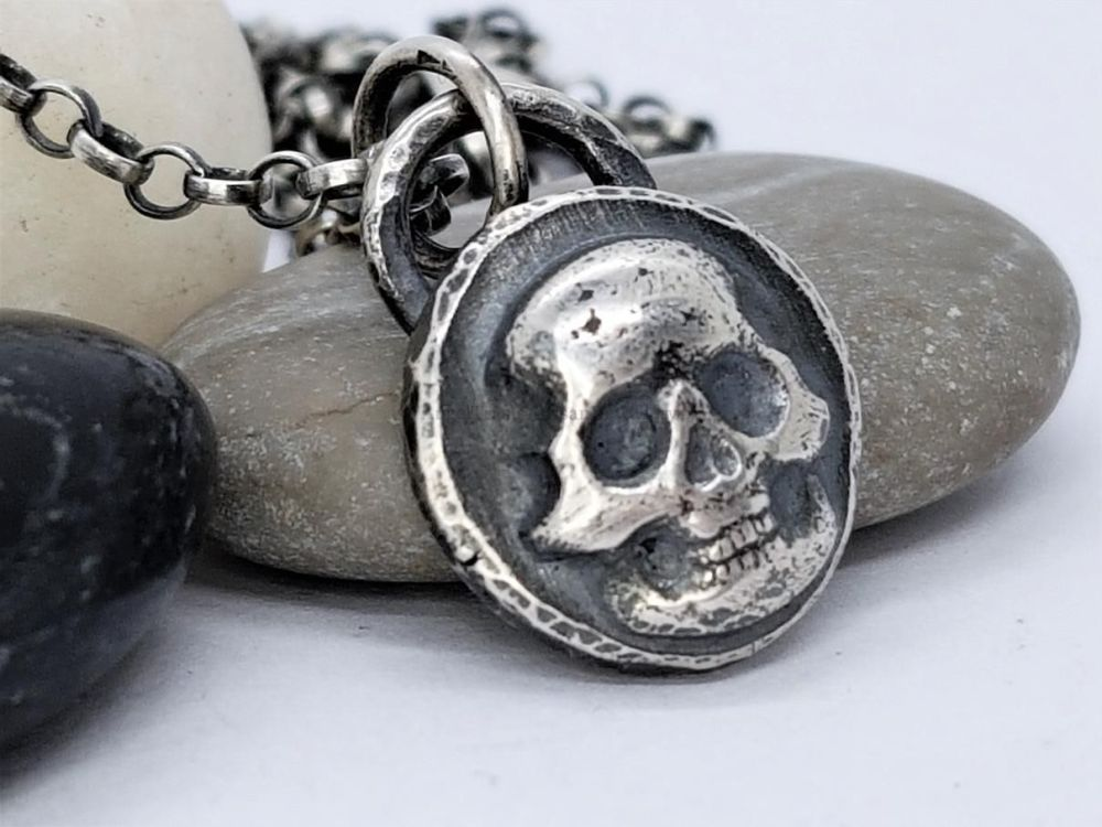 Sterling Silver Necklace - Emerging Skull Necklace - Rebel Collection