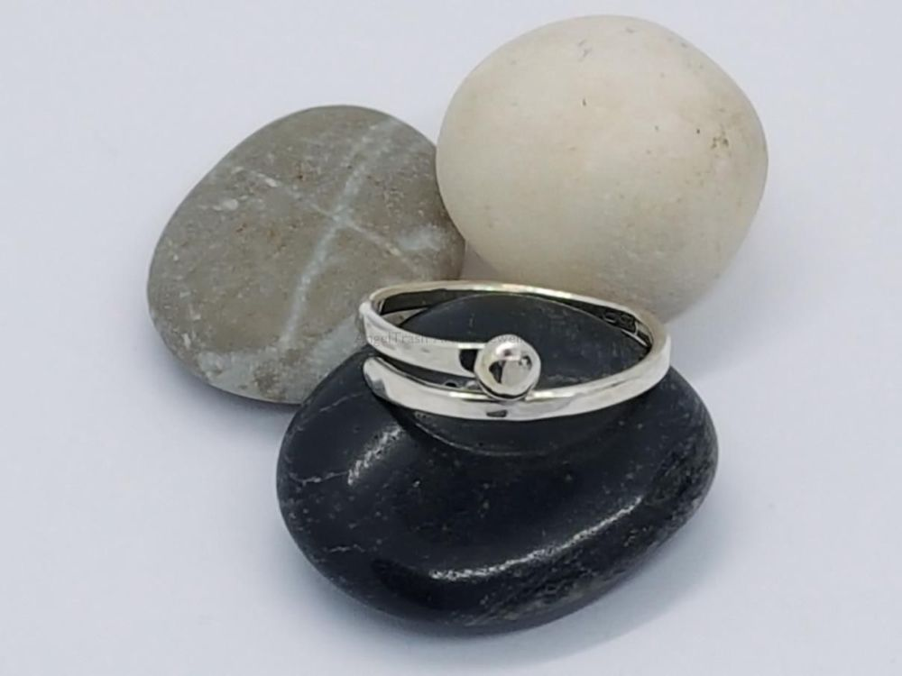 Sterling Silver Ring - Encircle Slim Wrap Ring with Single Silver Nugget
