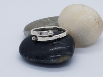 Ring - Sterling Silver - Encircle Slim Wrap Ring with Silver Nugget Ends