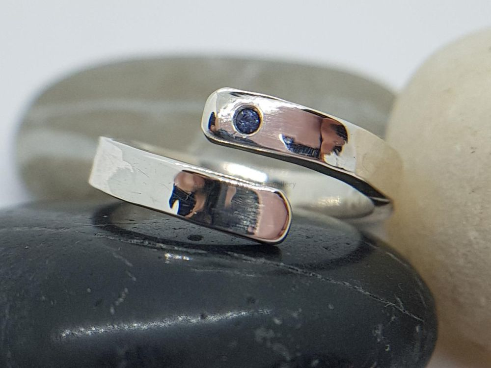 Sterling Silver Ring - Encircle Wrap Ring - Flush Set Sapphire
