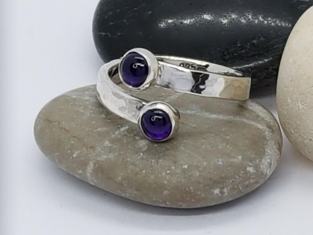 Sterling Silver Ring - Encircle Wrap Ring - Double Amethyst Cabochons