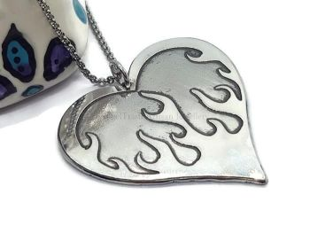 Necklace - Pewter - Flaming Heart Necklace