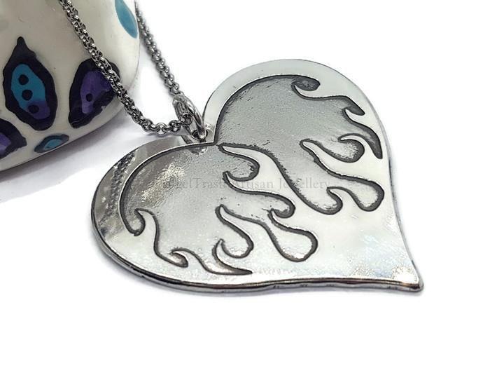 Pewter Rebel Range - Flaming Heart Necklace