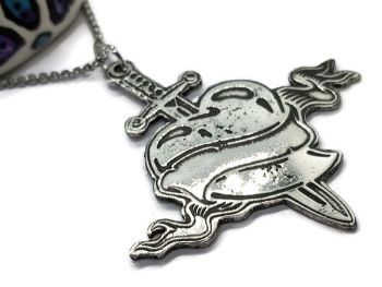 Necklace - Pewter - Love Hurts Heart & Sword Necklace