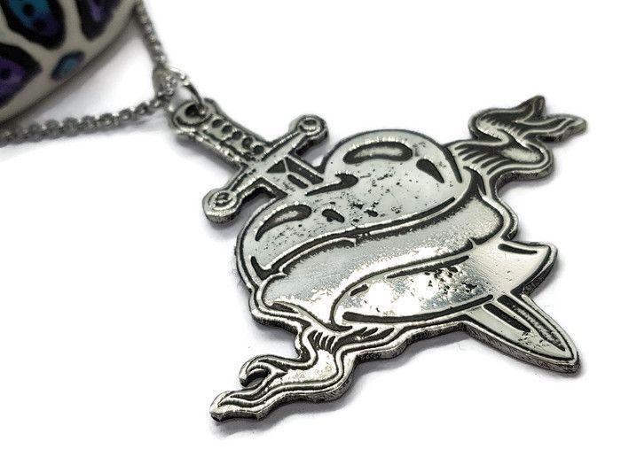 Pewter Rebel Range - Love Hurts Heart & Sword Necklace