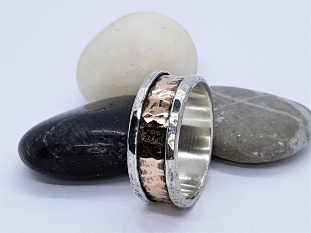 Ring - Mixed Metal - Sterling Silver Core Ring with Hammered Bronze Outer R