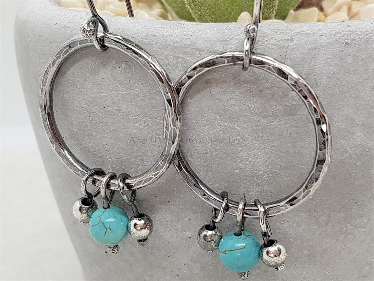 Silver Rustic Hoops with Turq & Silver Beads (11)