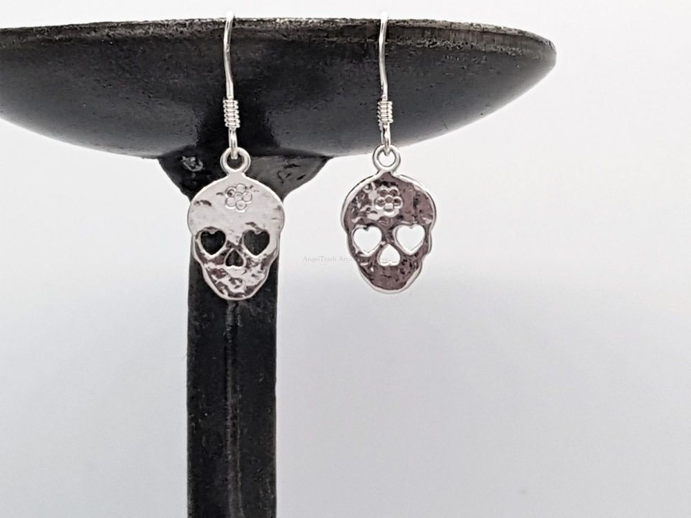 Earrings - Sterling Silver - Hammered Sugar Skull Earrings