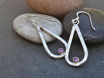 Earrings - Sterling Silver - Crystal Raindrop Earrings