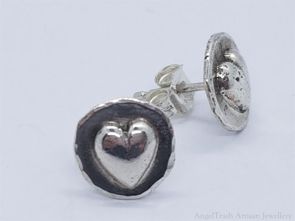 Earrings - Sterling Silver - Heart Shot Stud Earrings