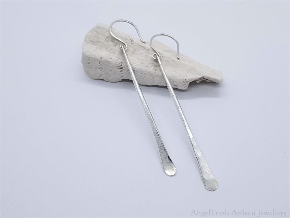 Earrings - Sterling Silver - Long Hammer Texture Paddle Earrings