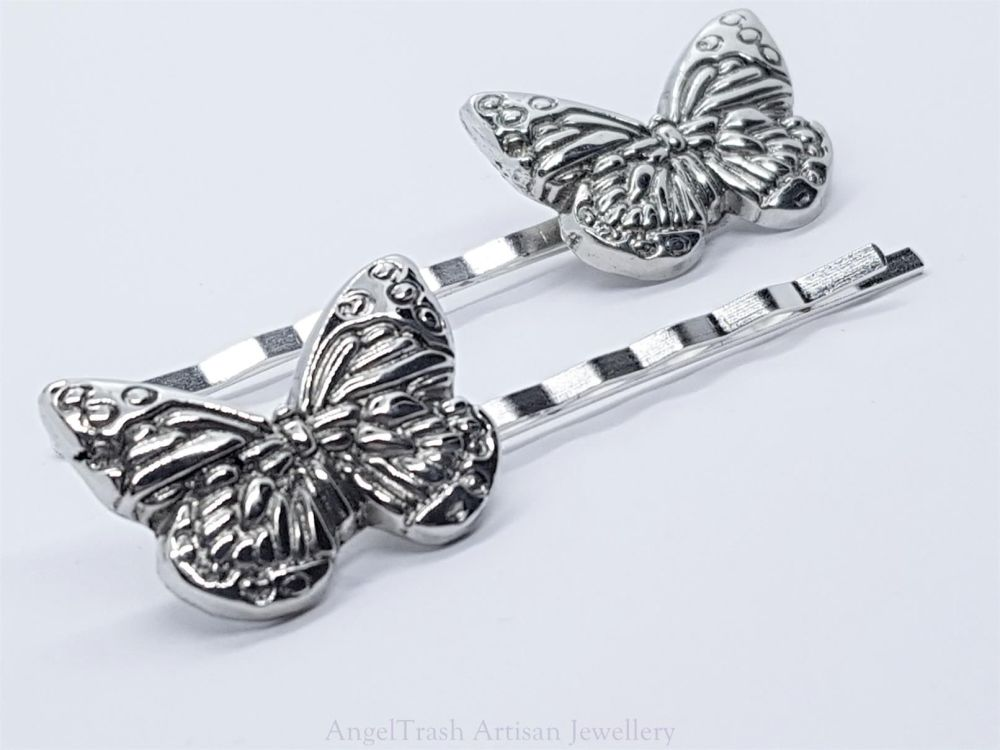 Hairclip - Pewter Butterfly Hairclip - Sold in Pairs