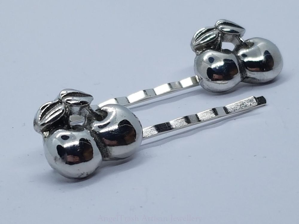 Hairclip - Pewter Cherries Hairclip - Sold in Pairs