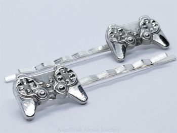 Hairclip - Pewter Game Controller Hairclip - Sold in Pairs