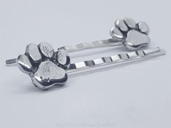 Hairclip - Pewter Paw Hairclip - Sold in Pairs
