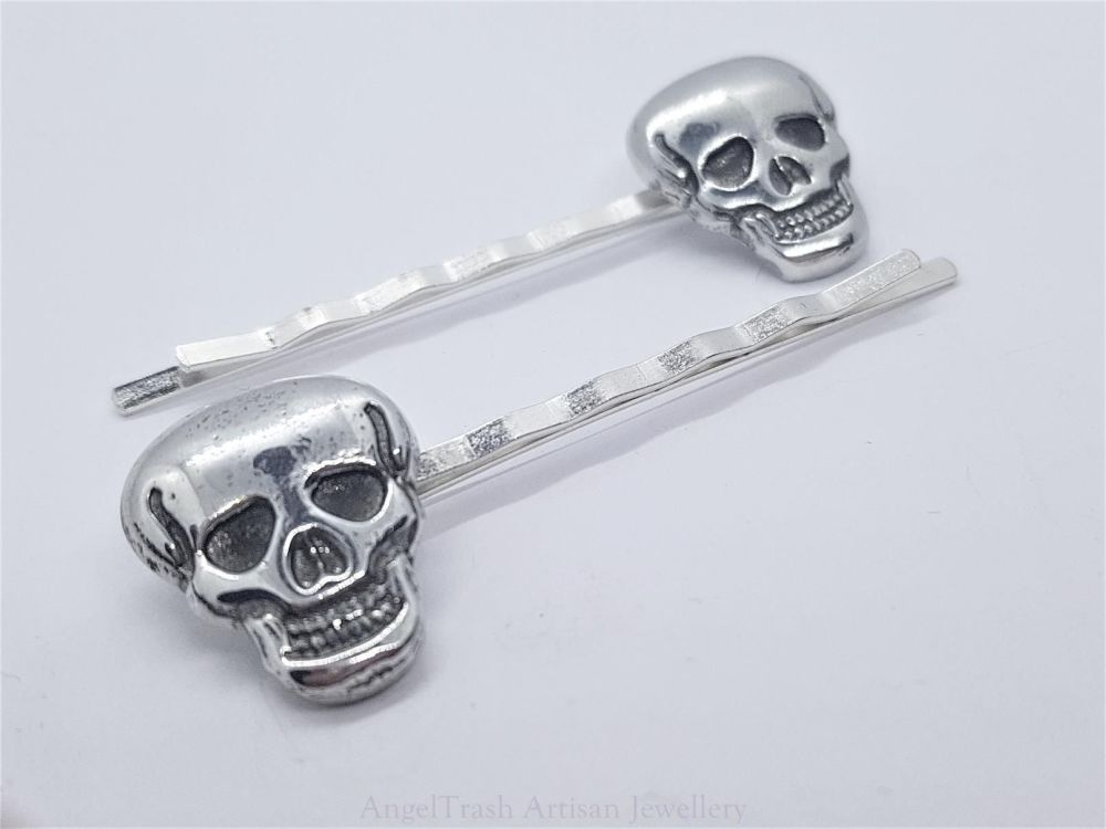 Hairclip - Pewter Skull Hairclip - Sold in Pairs