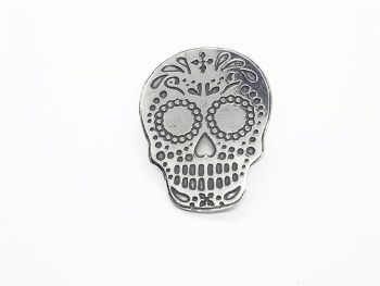 Lapel Pin - Pewter Sugar Skull Pin Badge - Chris