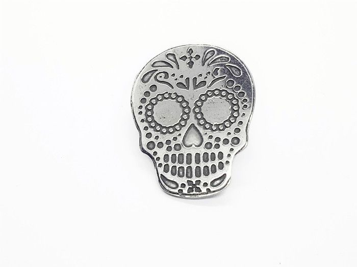 Lapel Pin - Pewter Sugar Skull Pin Badge Design 1