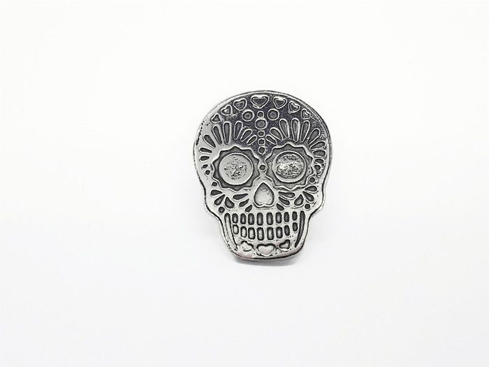 Lapel Pin - Pewter Sugar Skull Pin Badge Design 2