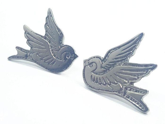 Lapel Pin - Pewter Swallows