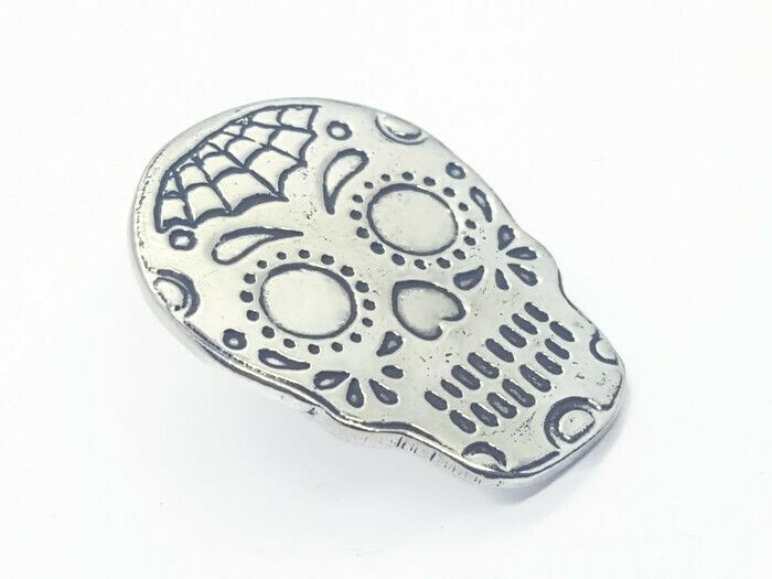Lapel Pin - Pewter Sugar Skull Pin Badge - Webo