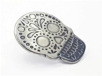 Lapel Pin - Pewter Sugar Skull Pin Badge - Dotty