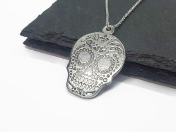 Necklace - Pewter - Sugar Skull - Chris
