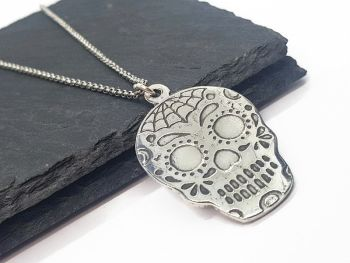 Necklace - Pewter - Sugar Skull - Webo