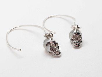 Earrings - Sterling Silver - Skulls on Oversized Hooks