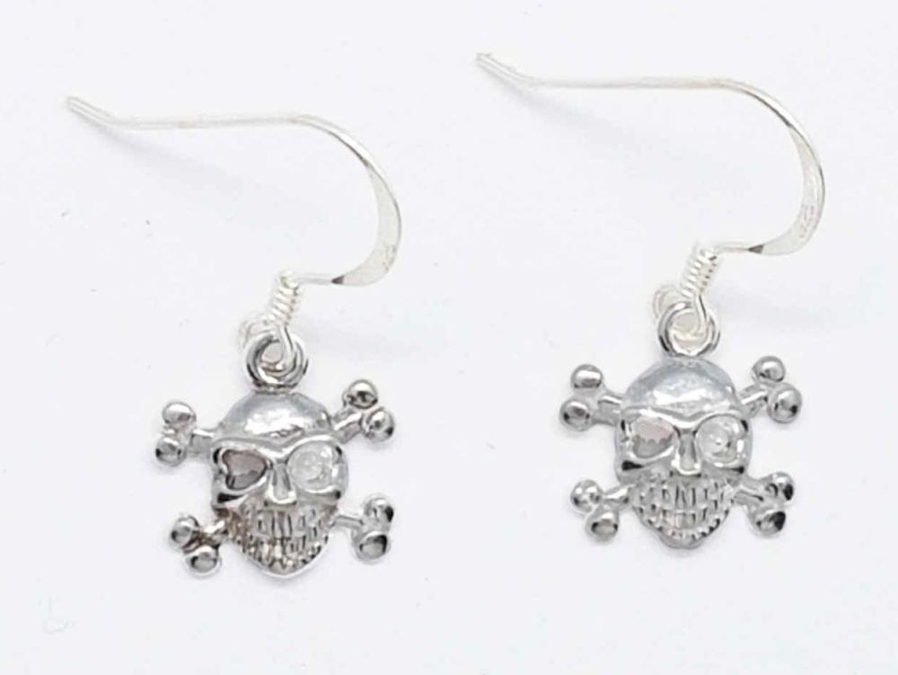 Earrings - Sterling Silver - Skull and Crossbones Earrings