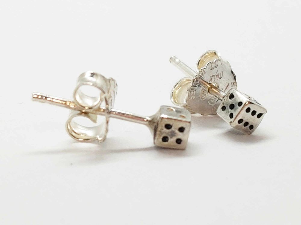 Earrings - Sterling Silver - Tiny Dice Stud Earrings