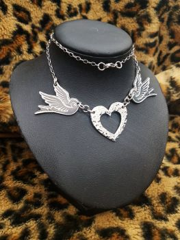 Necklace - Pewter - Tattoo Inspired Swallows & Hammered Heart Necklace
