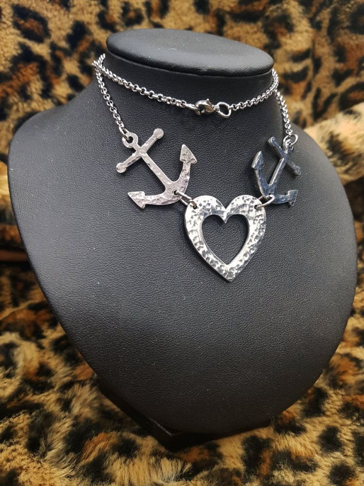 Necklace - Pewter - Tattoo Inspired Anchors & Hammered Heart Necklace