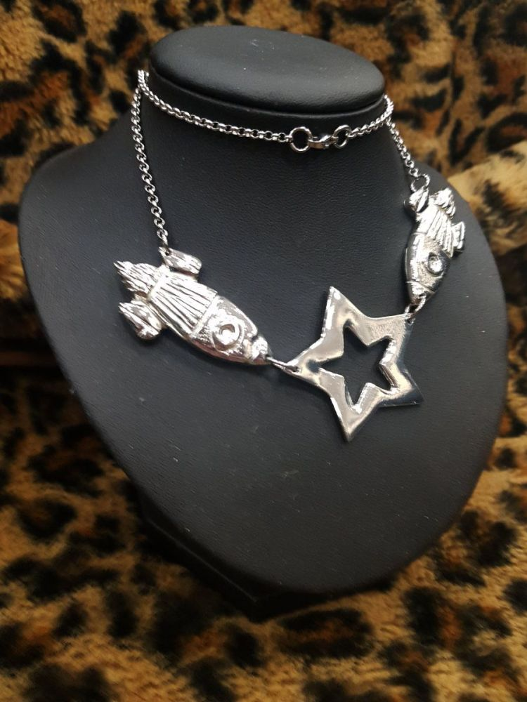 Necklace - Pewter - Space Themed - Rockets and Star Statement Necklace