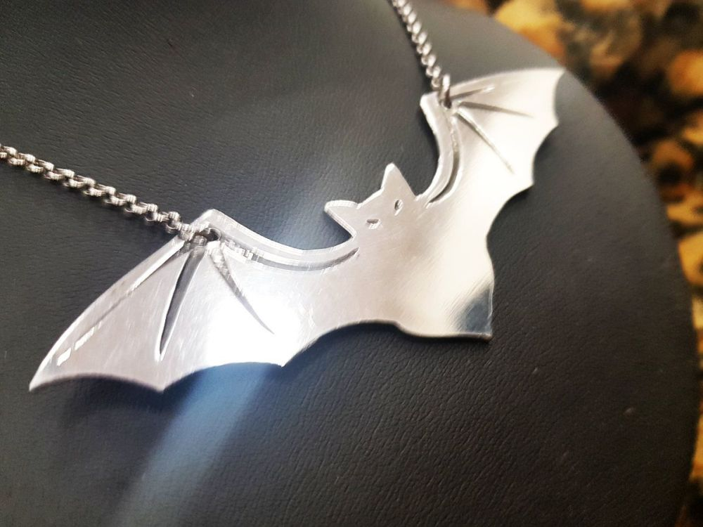 Necklace - Pewter - Big Bat - Statement Necklace