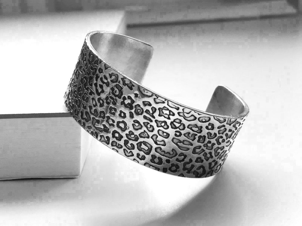 Bracelet - Pewter Wide Cuff Bracelet with Leopard Print Pattern