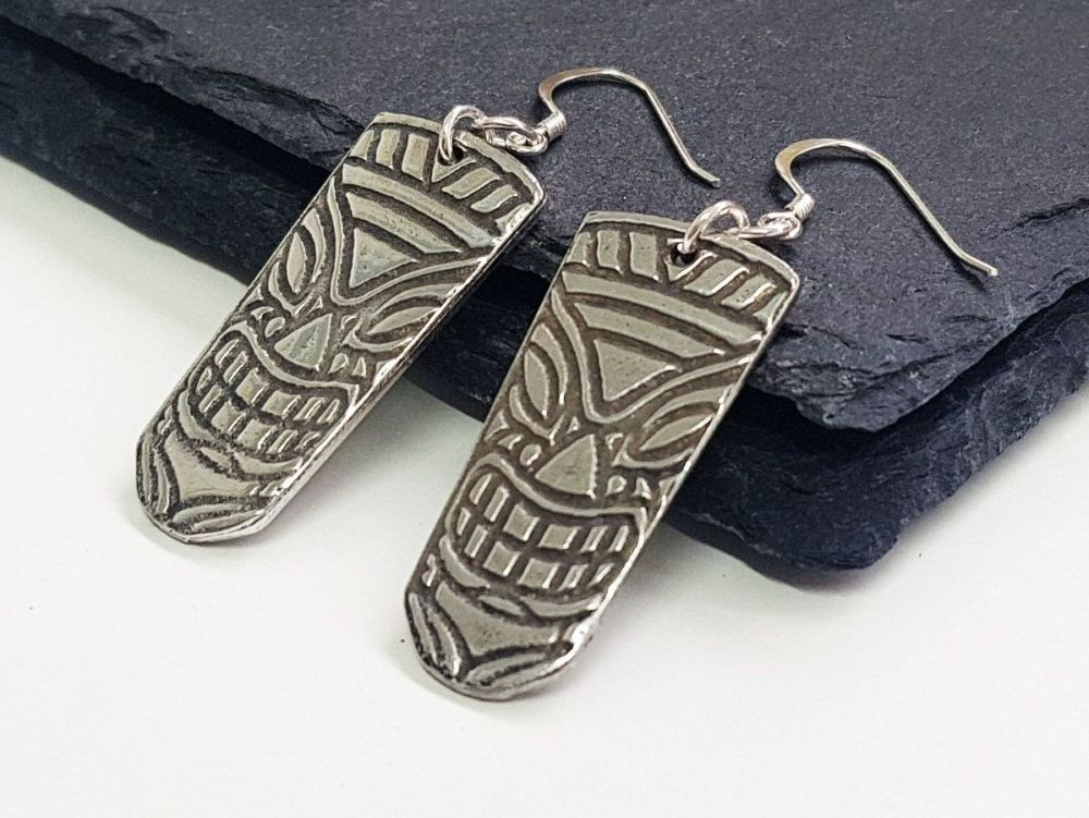 Earrings - Pewter - Tiki Head - ARI