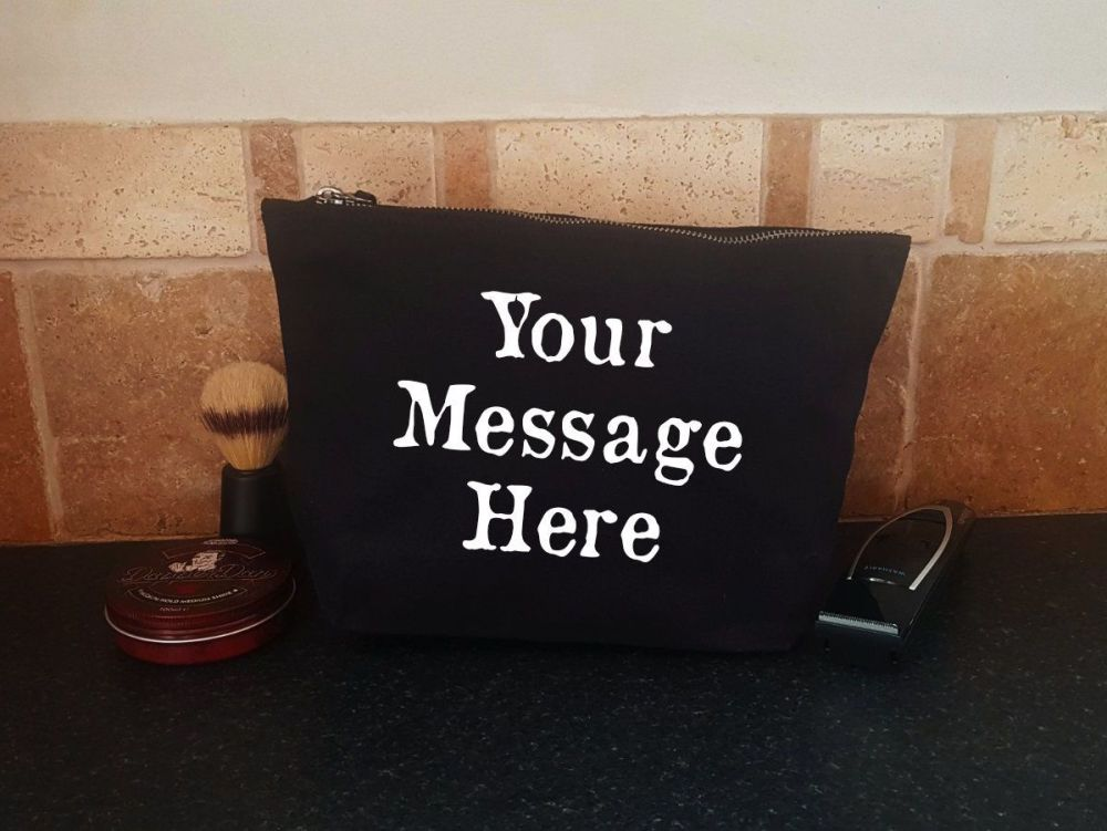 Men's Grooming Bag - Personalised with your own message