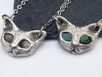 Necklace - Pewter - Chunky Cat - Cute Kitty